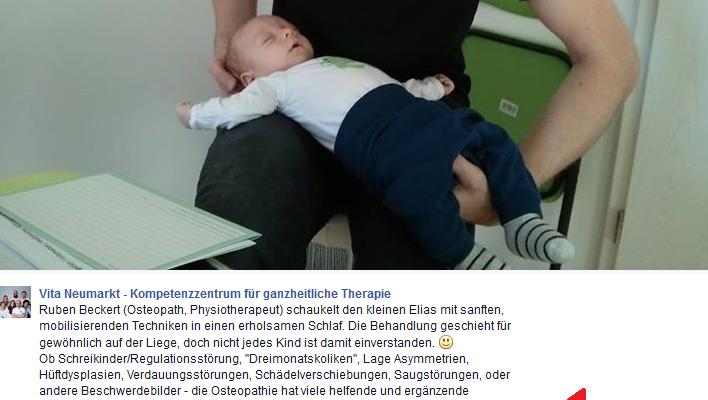Facebookaktivitäten Kinder – und Babyosteopathie in Neumarkt